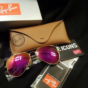 Ray Ban Aviator Sunglasses Pink & Matte Go…